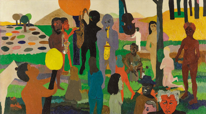 Bob Thompson, Garden of Music , 1960. Oil on canvas. 79 1/2 × 143 in. (201.9 × 363.2 cm). Wadsworth Atheneum Museum of Art, Hartford, Connecticut. The Ella Gallup Sumner and Mary Catlin Sumner Collection Fund. © Michael Rosenfeld Gallery LLC, New York. Photo: Allen Phillips / Wadsworth Atheneum