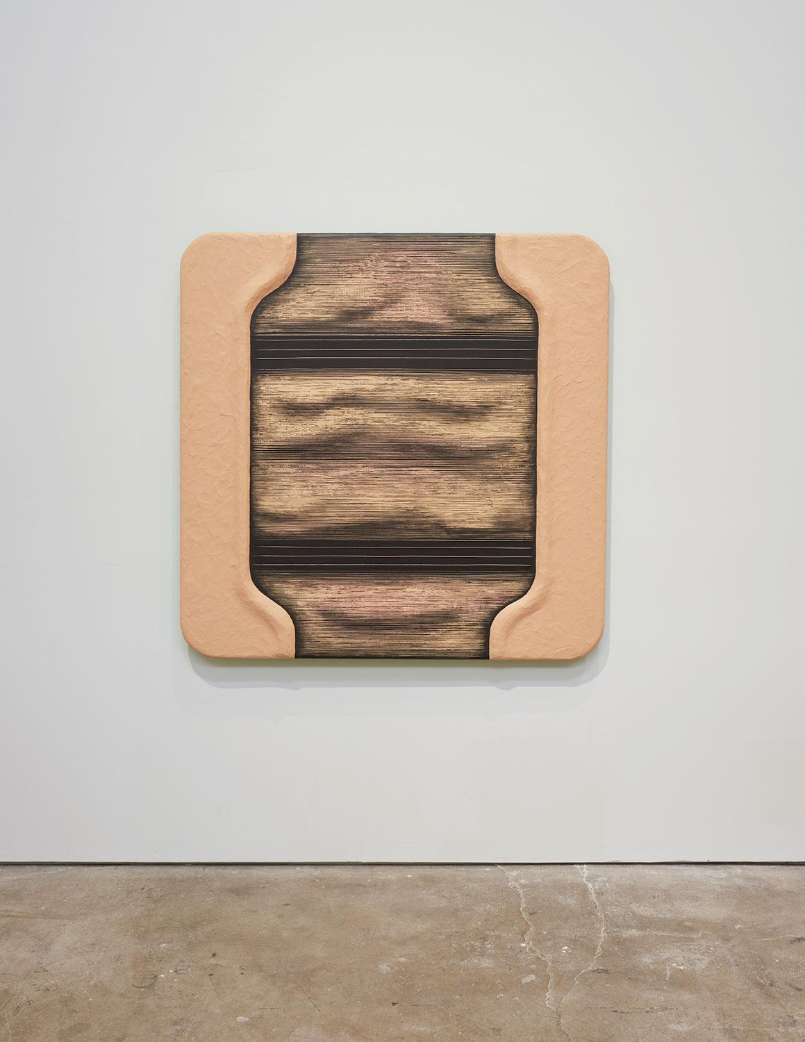 Tishan Hsu, R.E.M., 1986, installation view, Tishan Hsu: Liquid Circuit, SculptureCenter, New York, 2020. Acrylic, alkyd, vinyl cement compound on wood. 60 x 60 x 4 inches (152 x 152 x 10 cm). Collection of Marian and James H. Cohen. Photo: Kyle Knodell