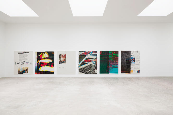 Untitled, 2020–21  Epson UltraChrome HDX inkjet on linen, 26 paintings Each 84 x 69 inches; 213 x 175 cm ©Wade Guyton, Courtesy Matthew Marks Gallery