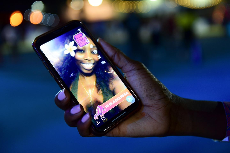 Women using snapchat filter