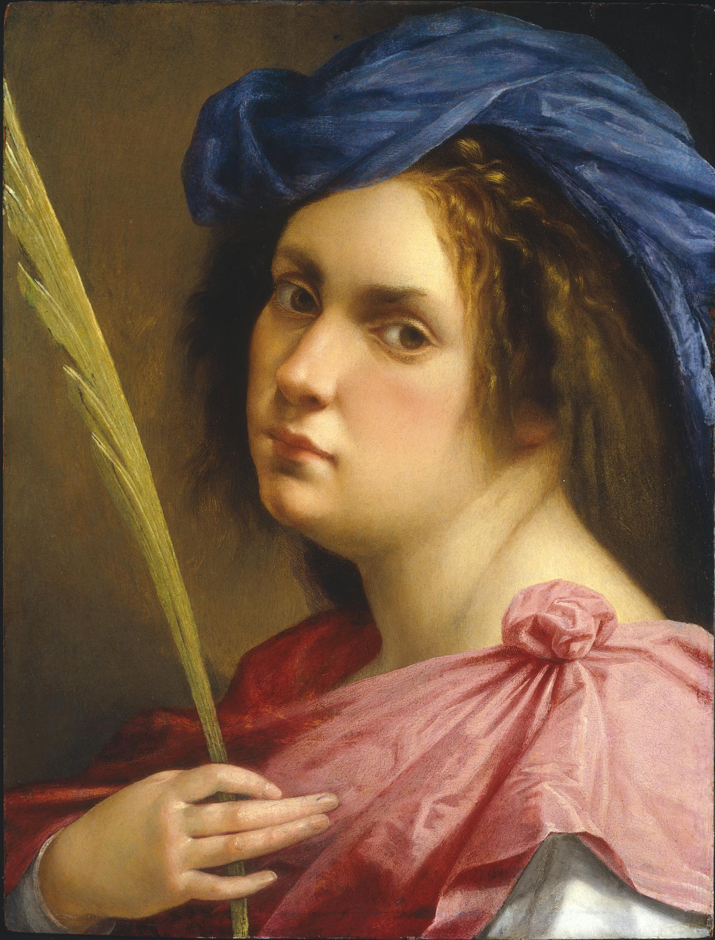 Artemisia Gentileschi Self Portrait as a Female Martyr, about 1613-14 Oil on panel 31.8 × 21.8 cm Private collection © Photo courtesy of the owner