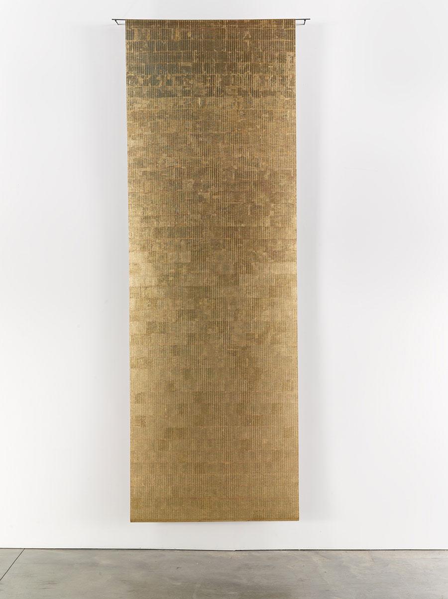 Zarina, Veil, 2011, 22-karat gold leaf on bamboo blinds, 361 × 122 cm. Courtesy: © Zarina and Luhring Augustine, New York
