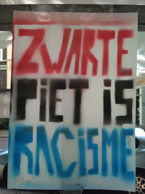 'Zwarte Piet Is Racism' campaign. Courtesy: Quinsy Gario