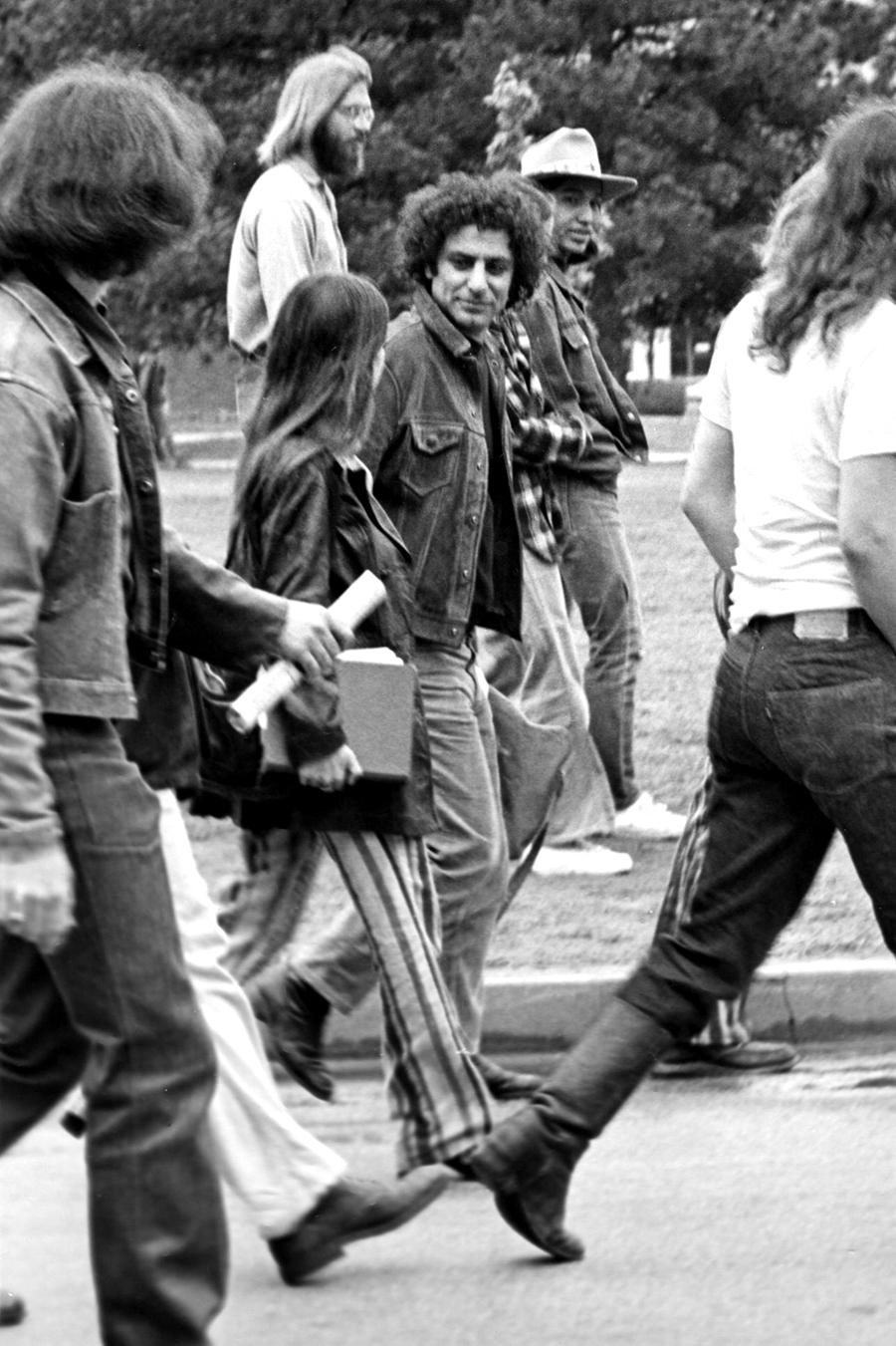 Abbie Hoffman visiting the University of Oklahoma to protest the Vietnam War, 1969. Courtesy: Wikimedia Commons