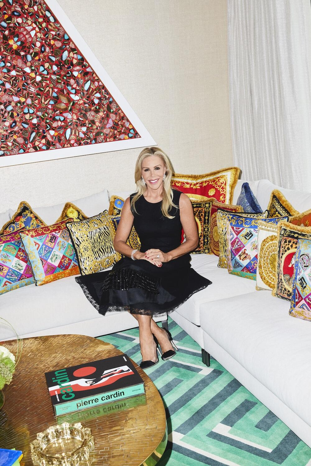 Amy Phelan in the games room of her Stonefox-designed home, Palm Beach, Florida, May 2021. At left, on wall: Damien Hirst, A Beautiful Thing, 2002. All photography: Jeremy Liebman
