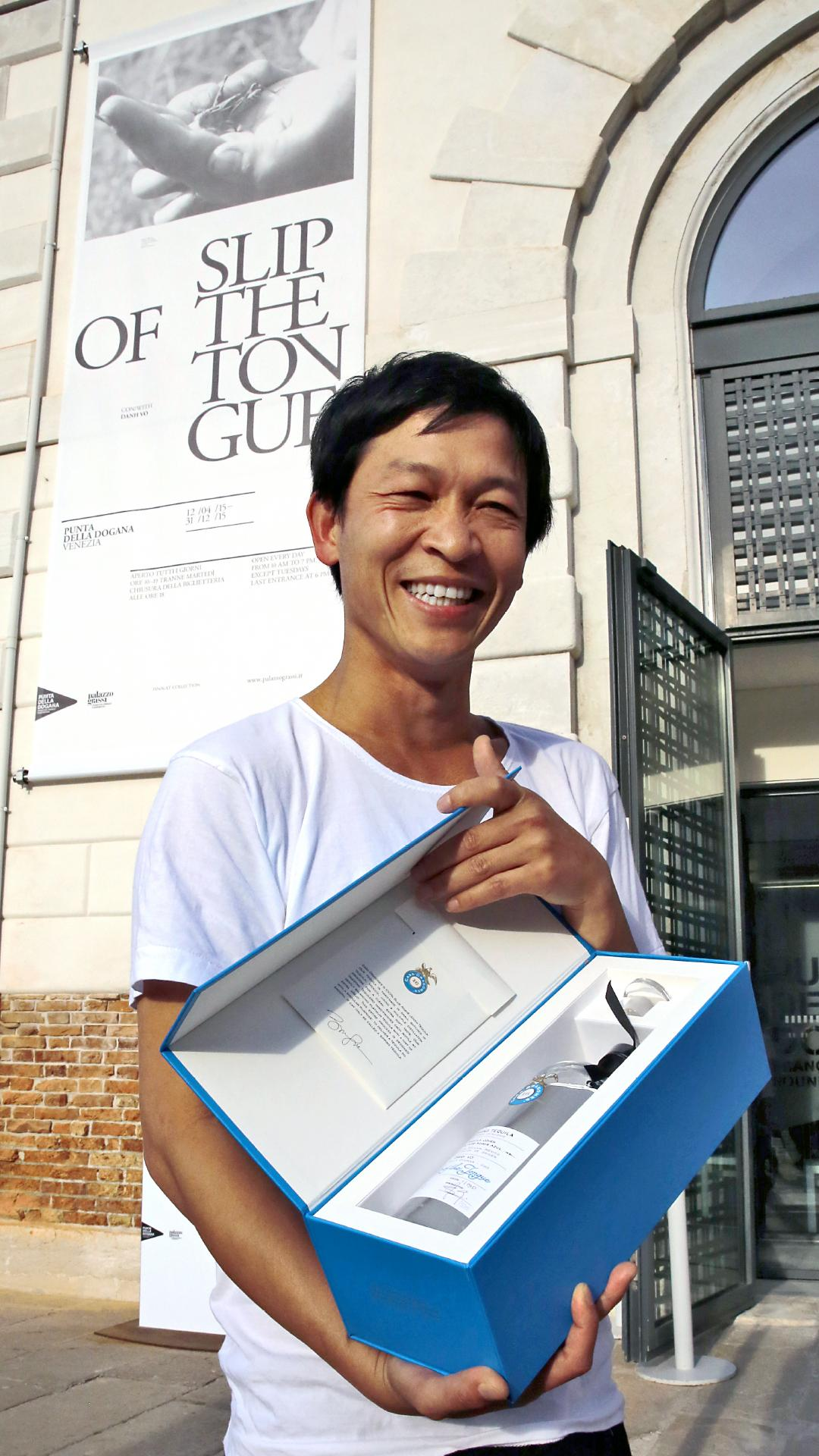 Danish Artist Danh Vo Holding Casa Dragones Collaboration Edition Bottle at Venice Biennale 2014