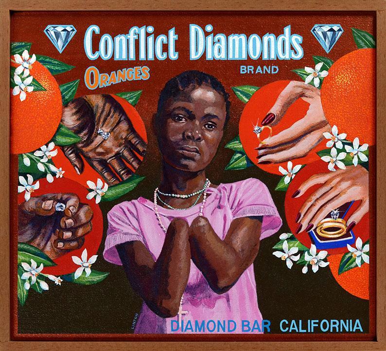 Ben Sakoguchi Conflict Diamonds, 2002 Acrylic on canvas, pine frame 10 x 11 in (25.4 x 27.9 cm)