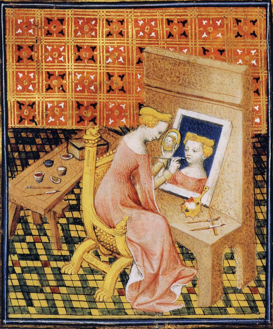 Marcia Painting her Self-Portrait, illustrated in Giovanni Boccaccio, De Mulieribus Claris (Concerning Famous Women), 1402. Courtesy: Wikimedia Commons