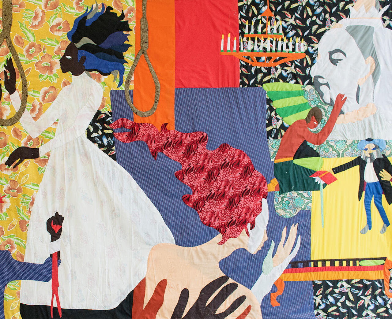 CHRISTOPHER MYERS  Funnyhouse Of A Negro, 2018 (detail)  Appliqué fabric  84 x 144 in.  213.4 x 365.8 cm    Courtesy the artist and James Cohan.