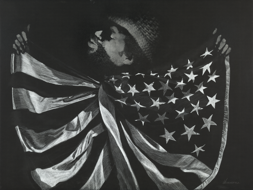 David Hammons, Untitled (Man with Flag), undated, grease, pigment, and white crayon on paper, 76 × 101 cm. Courtesy: Glenstone Museum, Potomac, Maryland, Mnuchin Gallery, New York, and The Drawing Centre, New York