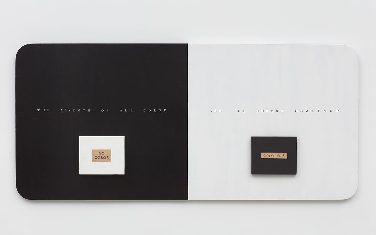 RENÉE GREEN Color / No Color, 1990 Wood, latex enamel paint, Letraset dry transfer, rubber stamped ink type, 76.2 x 167.6 cm. Courtesy: the artist and Bortolami; photograph Kristian Laudrup