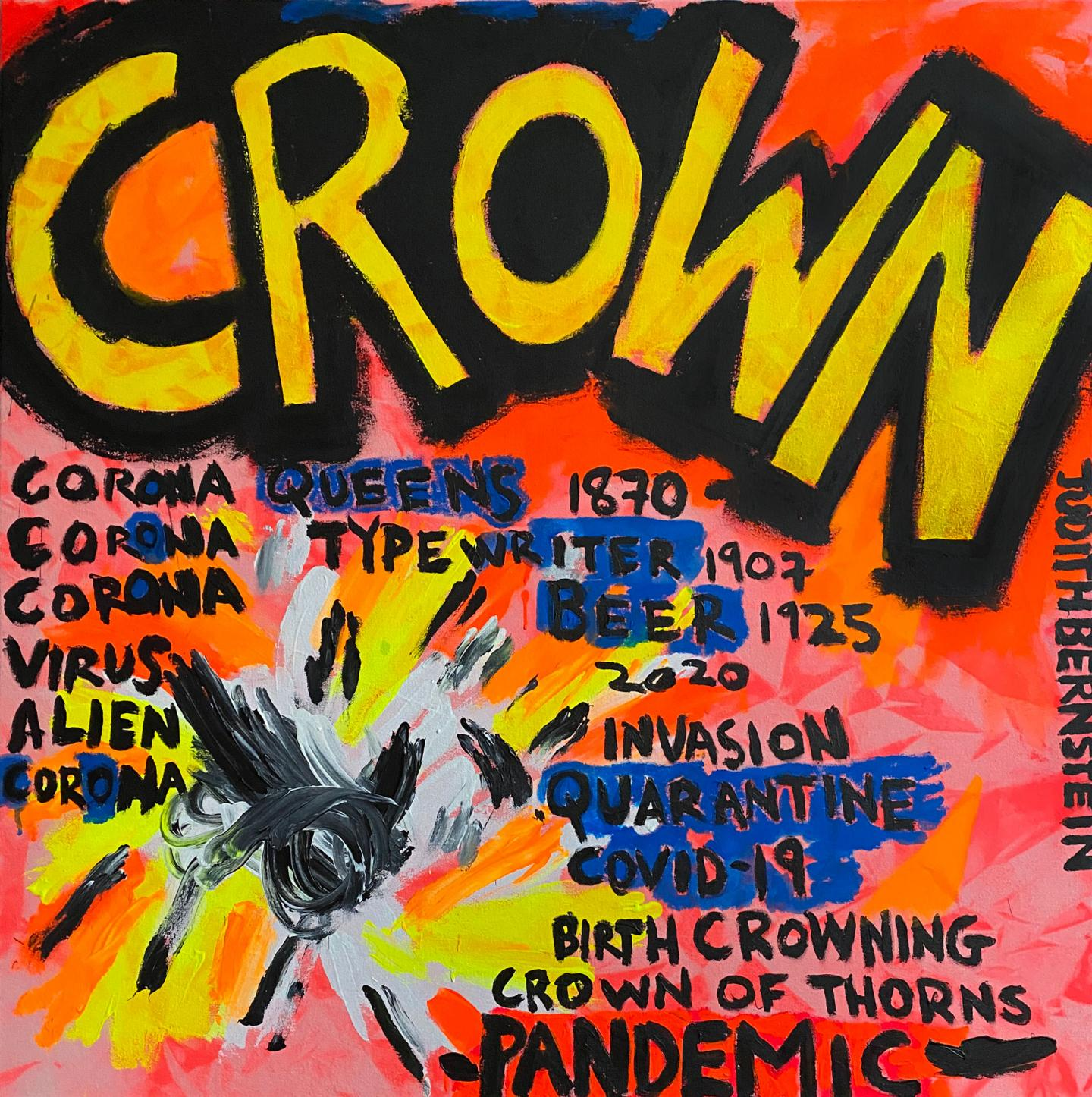 Judith Bernstein, Crown, 2020, acrylic on canvas. Courtesy: the artist and The Box, Los Angeles.