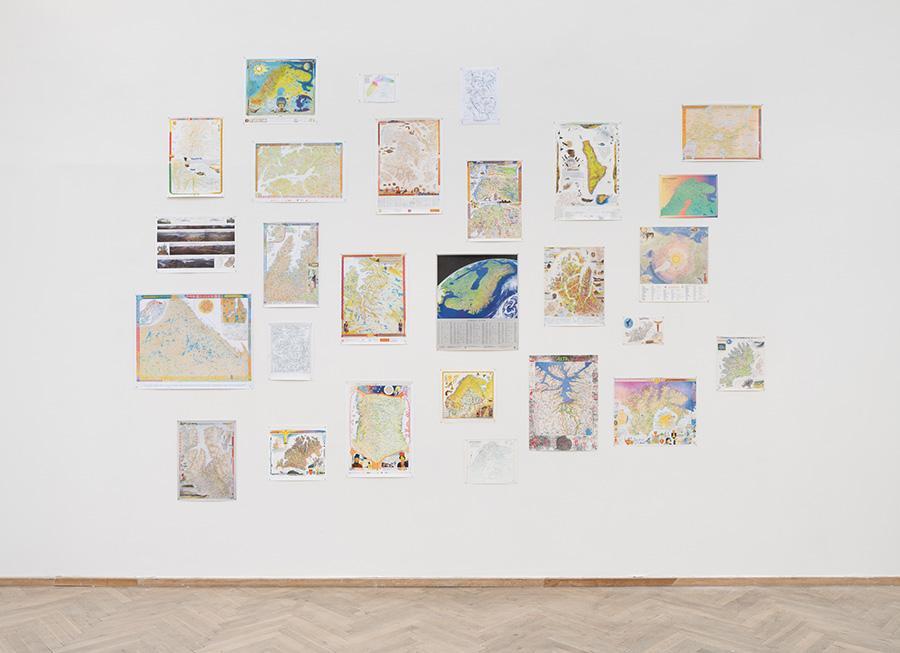 Keviselie (Hans Ragnar Mathisen), various maps with Sámi place names, 1975-present, works on paper. Courtesy: Keviselie. 'Witch Hunt', Kunsthal Charlottenborg, 2020. Photo: David Stjernholm