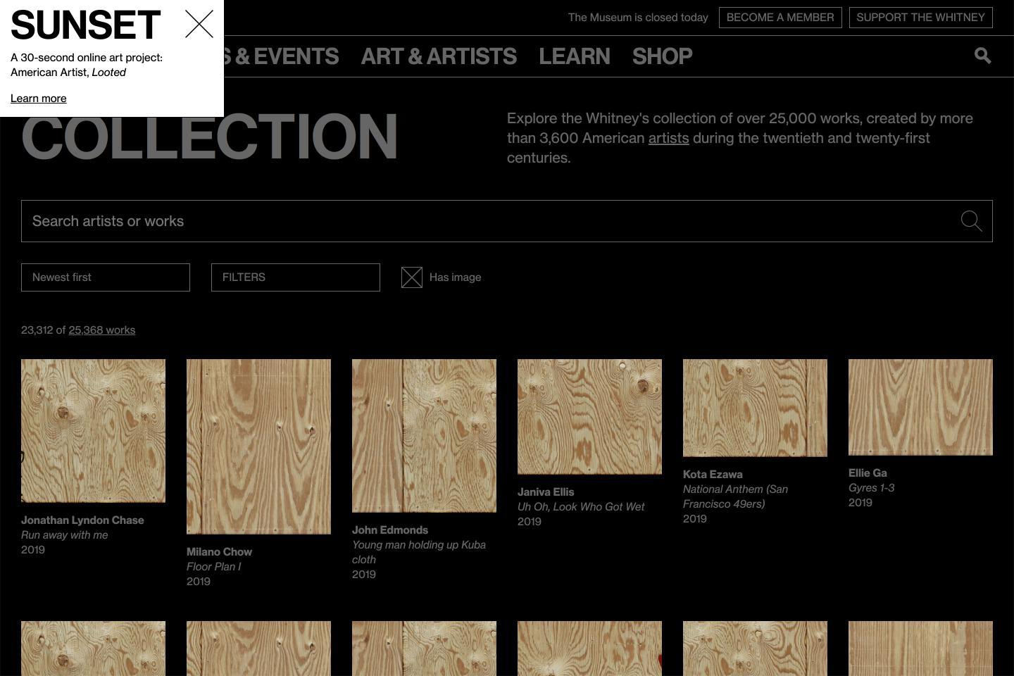 American Artist, Looted, 2020, for the 'Sunrise/Sunset' series on artport, screenshot. Courtesy: the artist and Whitney Museum of American Art, New York