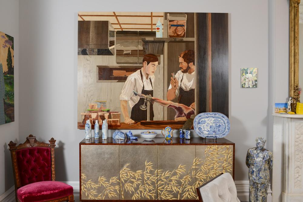 "on the wall: Alison Elizabeth Taylor, ""El Jamon"", 2014, Maia Cruz Palileo; ceramics from left to right: Taikkun Li, Ann Agee, Hayley Silverman, Paul Scott, Alben"