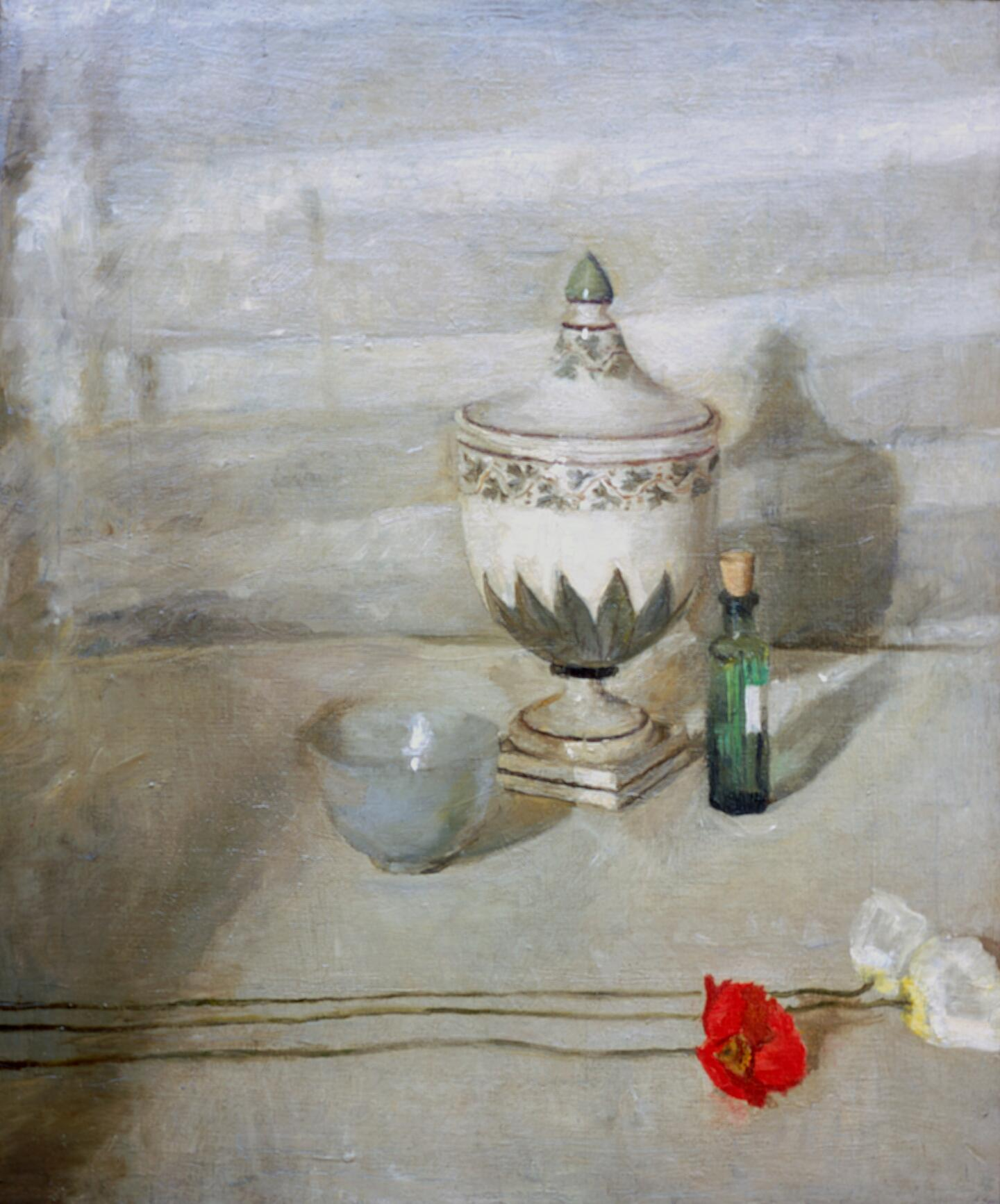 Still life image of a flower and poppies