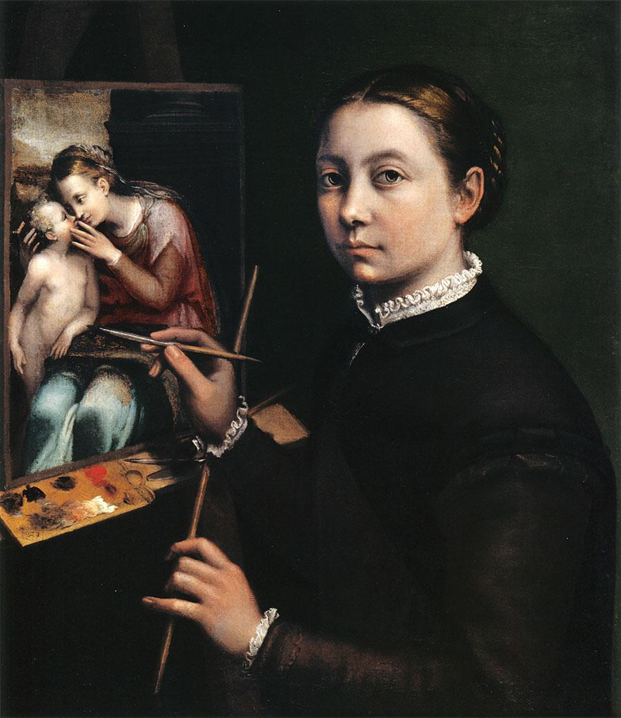 Sofonisba Anguissola, Self-Portrait at the Easel Painting a Devotional Panel, 1556–65, oil on canvas, 66×57cm. Courtesy: Wikimedia Commons