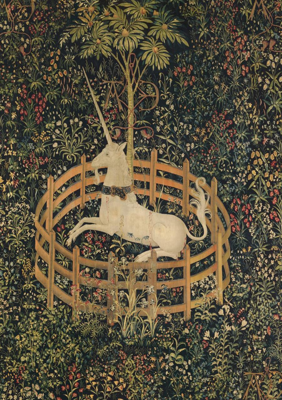 the-unicorn-rests-in-a-garden