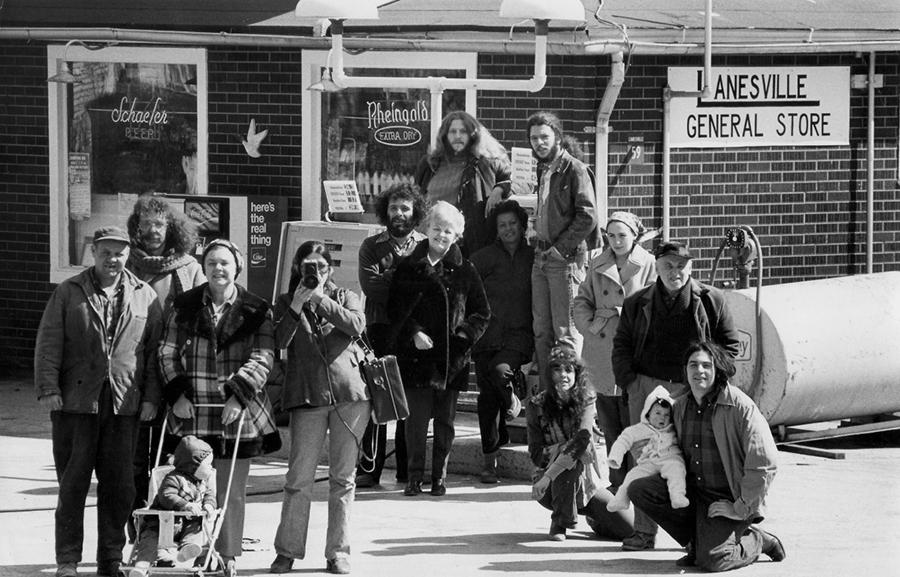 Videofreex and neighbours at Lanesville General Store. 1973. Courtesy: Videofreex; photograph: John Dominis