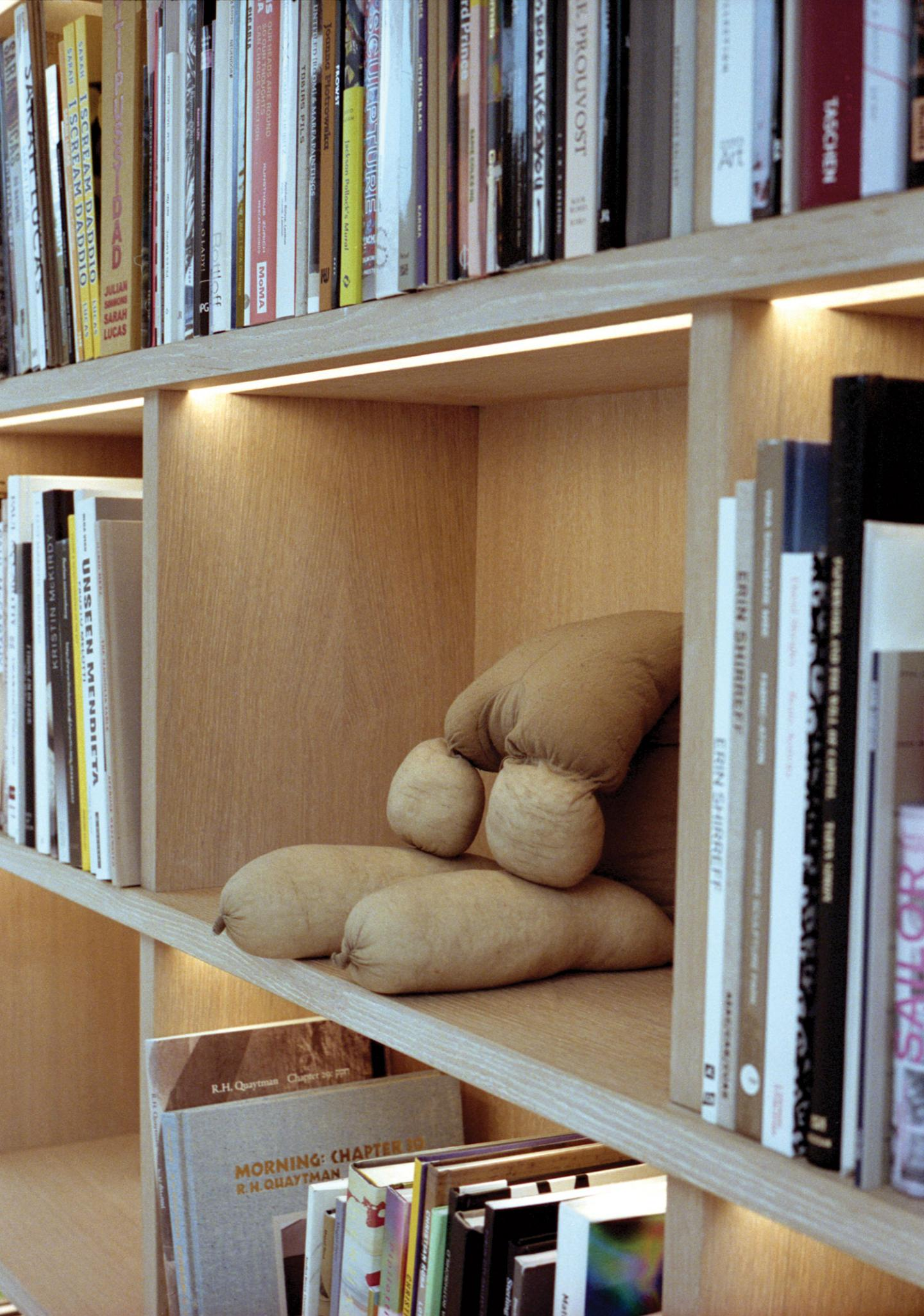 Sarah Lucas, Tit Teddy, 2012 in the library at The Perimeter. Photograph:Kuba Ryniewicz
