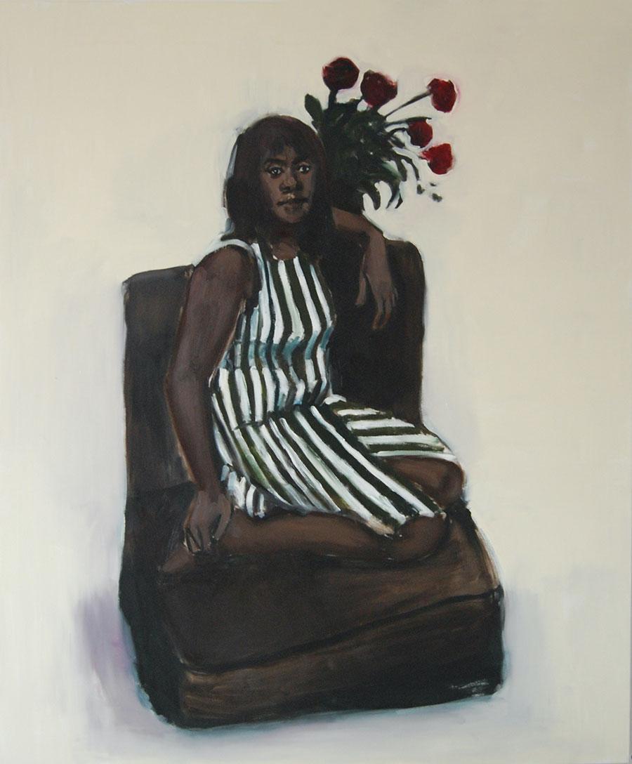 Lynette Yiadom-Boakye,6pm Madeira 2011, oil on canvas,180x 150cm.Courtesy:©Lynette Yiadom-Boakye